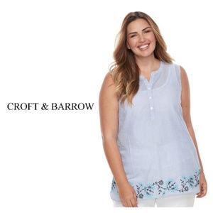 Croft Barrow Womens  Blue Tank Top Plus Sz 2X NWT